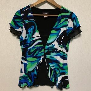 Cocomo cap sleeve layered look blouse size M